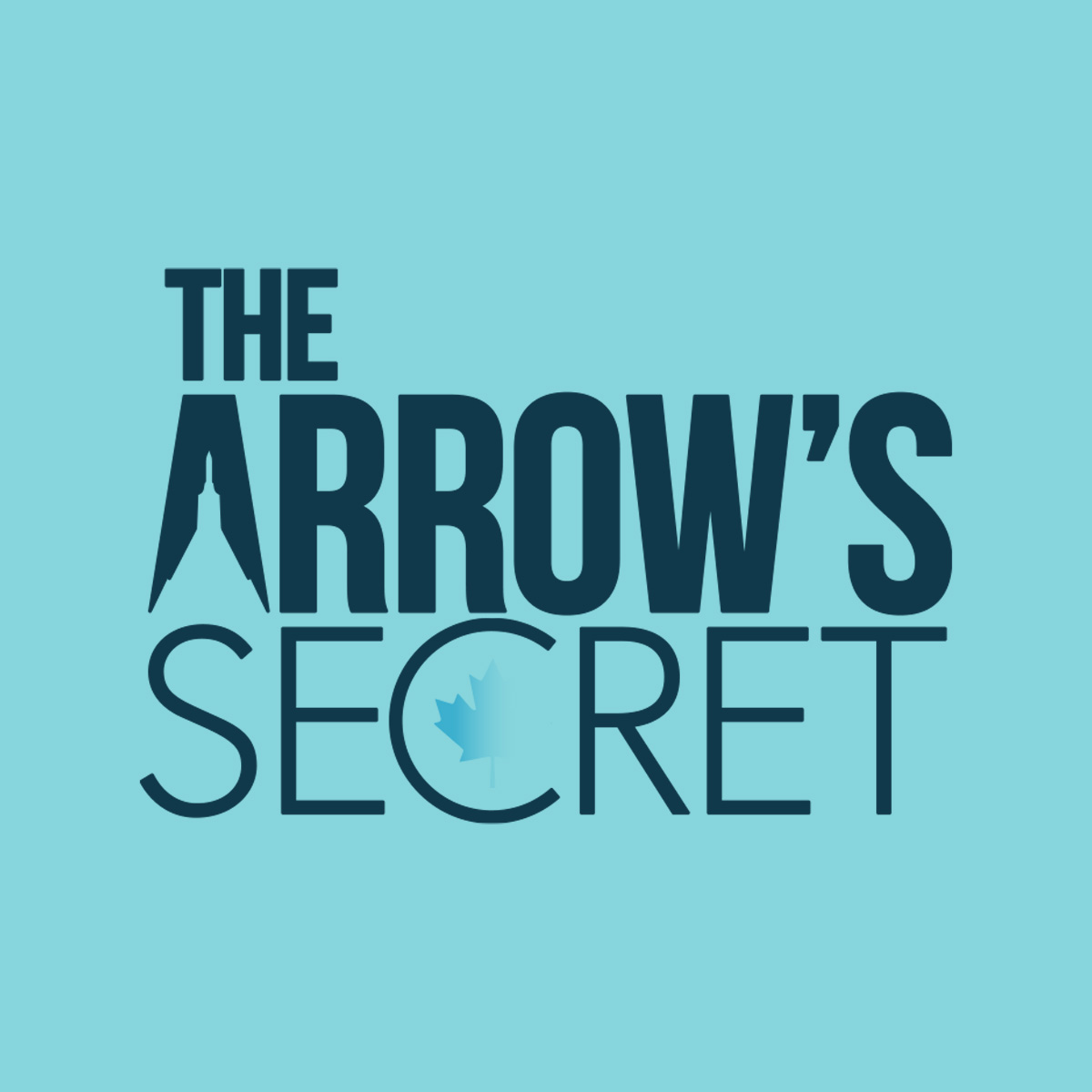 Image Description: Game logo for The Arrow's Secret - stylized lettering featuring the silhouette of the Avro Arrow knocked out of a capital letter A, and Canadian maple leaf