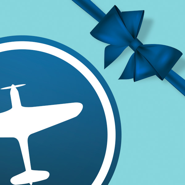 Image Description: Escape Camp Picton plane icon against a teal background featuring a blue gift wrapping ribbon