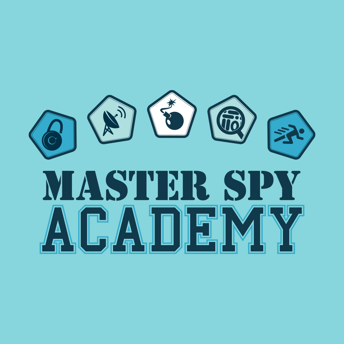 Image Description: Game logo for Master Spy Academy featuring five game-related icons - a combo lock, a satellite dish, an explosive a magnifying glass and a running person.