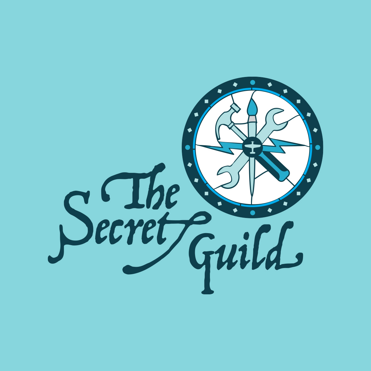 Image Description: Game logo for The Secret Guild - a sylized stained glass design featuring a paint brush a lightning bolt and a wrench